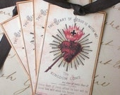Religious Tags -Sacred Heart Tags - Vintage Sacred Heart - Prayer Card -  Set of 4