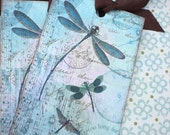 Dragonfly Tags - Dragonfly Dreams Tags - Aqua Blue, Teal, Summer -Set of 3