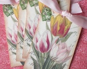 Tulip Tags - Vintage Tulips - French Tulip Tags - Set of 4