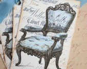 Chair Tags - Vintage Chair Tags - Blue Victorian Chair Tag - Set of 4