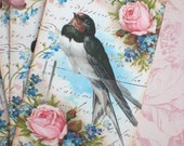 Bird Tags - Vintage Swallow Bird - Return of the Swallows Tag - Pink Roses - Set of 4