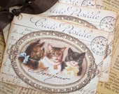 Cat Tags - French Cat Tags - Vintage Cat Tags -Three Cats- Set of 6