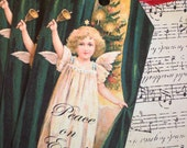 Vintage Christmas Tags - Vintage Angel - Peace on Earth Angel Tags - Set of 4