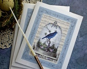 Vintage Bird Notecards- Cherished Bird Notecards - Set of 2 (plus matching petite tag)
