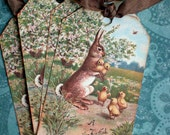 Easter Rabbit Tags - Vintage Rabbit Tags -Bunny and Chicks Tags - Set of 4
