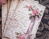 Pink Rose Tags - Vintage Rose Tags - Elegant Rose Vase Tags - Postcard Tags - Set of 4