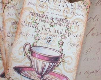 Vintage Tea Tags - Tea Party Tags - Cozy Tea Room Gift Tags - Pink -  Set of 4