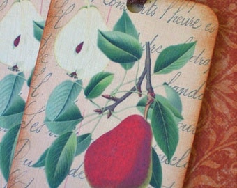 Pear Tags, Apple Tags - French Fruit Gift Tags - Food Tags - Set of 4