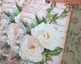 Rose Tags - Vintage Rose Tags - Antique White Roses Tags - Set of 3