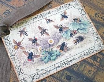 Bee Tags - Vintage Bee Tags - Honeybee Picnic Tags - Set of 4