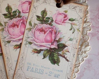 Rose Tags - French Paris Tags - Vintage Paris Rose Tags - Set of 3