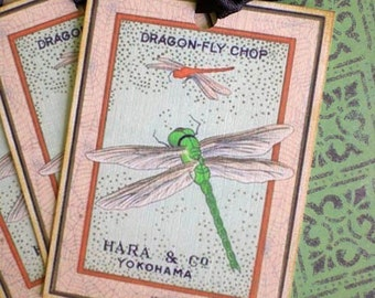Vintage Dragonfly Tags - Japanese Dragonfly Tags - Peach, Brown, Lime Green - Set of 3