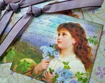 Lilac Tags - Victorian Girl Tags - Lilac Dream Tags - Floral Garden Tags -Set of 3