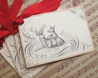 Christmas Tags - Vintage Reindeer Tags - Calligraphy Reindeer Tags, Red - Set of 4
