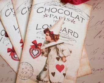 French Chocolate Tags - Vintage Pierrot Clown Tags - French Chocolat Pierrot Tags - Set of 6