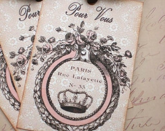French Tags- Vintage Crown Tags - French Pour Vous Gift Tags - Set of 3