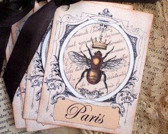 Bee Tags - Queen Bee Tags - French, Paris, Crown - Set of 4