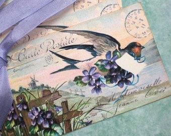 Bird Tags - Vintage Bird Tags - Swallow Messenger Bird Tags - Postcard Tags, Lilac- Set of 4