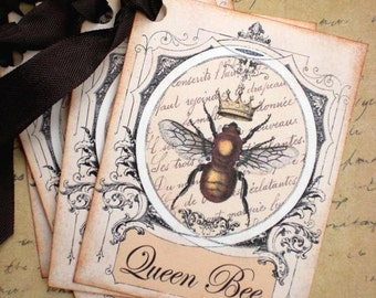Bee Tags - Queen Bee Tags - French Queen Bee Tags - Set of 4