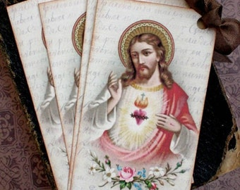 Religious Tags - French Sacred Heart Tags - French Jesus - Inspirational Tags - Set of 4