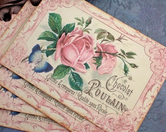 Rose Tags  - French Rose Tags - Vintage Chocolate Tags -Blue Butterfly - Set of 4