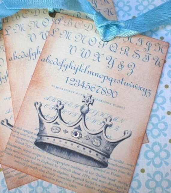 Vintage French Crown Tags - French Script Crown Tags - Blue - Set of 3