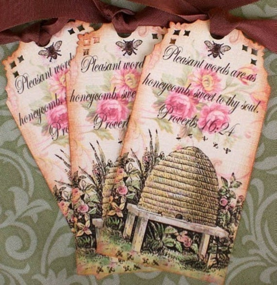 Bee Tags, Vintage Beeskep Bookmarks Proverb Tags, Honey Tags - Set of 3