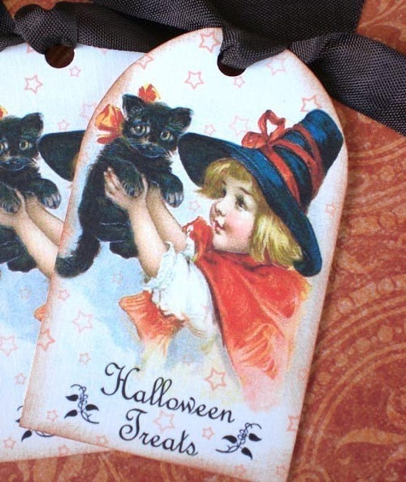 Black Cat Halloween Girl Tags - Halloween Treats Gift Tags - Set of 3