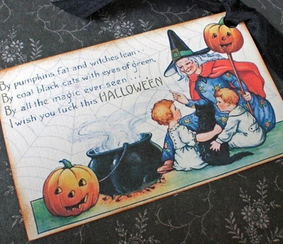 Vintage Halloween Tags - Vintage Witch Tags -Our Favorite Witch Tags -Cauldron - Set of 4