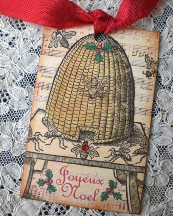 Antique Christmas Bee Skep Tags - Set of 3