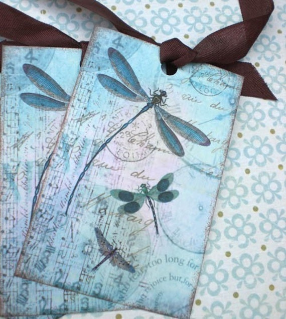 Dragonfly Tags - Dragonfly Dreams Tags - Aqua Blue, Teal, Summer -Set of 3