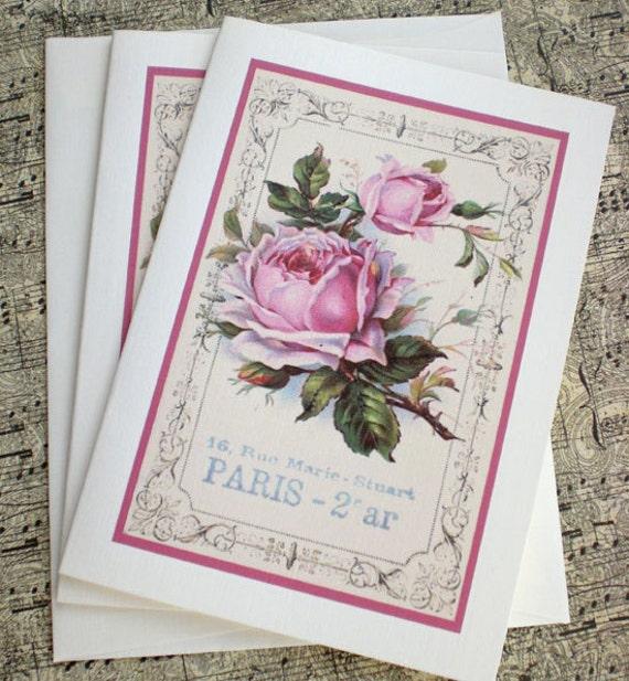 Vintage Paris Rose Notecards - French Rose Foldover Notecards - Set of 2 (plus matching petite tag)