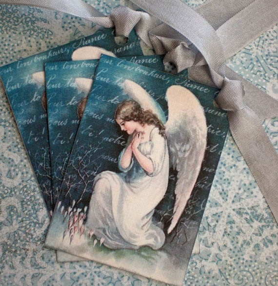 Angel Tags - Christmas Tags - Vintage Angel Tags - Humble Angel, Teal, Snow - Set of 3