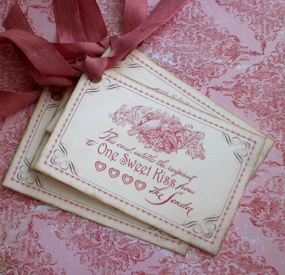 Vintage Valentine Tags - Bird and Nest Tags - One Sweet Kiss Valentine Tags - Set of 4