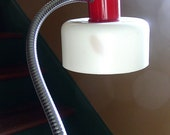 Midcentury Modern Gooseneck Lamp - White and Red