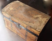 Antique Doll Trunk Shabby Chic  Dome Top Wood with Paper Litho