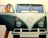 Vintage VW Station Wagon Ad , 1965  Woman Getting into a Volkswagon Van, Ephemera