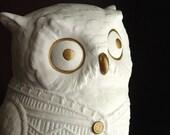 White Bisque Owl in a Sweater, Retro White Decor Piece