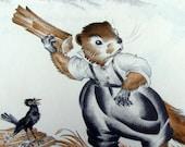 How Much Wood Would a Woodchuck Chuck,  1950s Period Ephemera - Cherished Book Illustration
