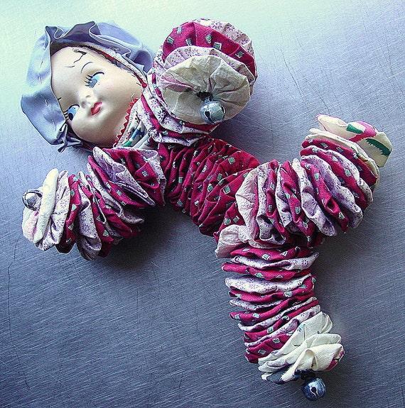Handmade Yo yo Quilt  Doll with Plastic Face- Midcentury Strangeness