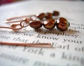 Copper and chocolate pearl earrings