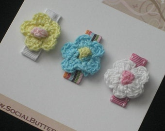 Crocheted Flower Baby Snap Hair Clips, Infant Snap Clips, Toddler Hair Clips, Baby Hair Clips, baby shower gift, Buy 3 Items, Get 1 Free