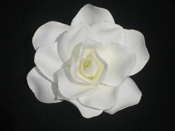 White Gardenia Hair Clip - Retro Glam Wedding Prom Rockabilly - Buy 3 Items Get 1 FREE