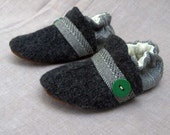 Earl Grey Wool Baby Slippers Leather Bottom made from recycled materials