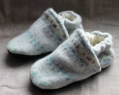 Blueberry Wool Baby Slippers Leather Bottom Size 12-18 months old made from recycled materials