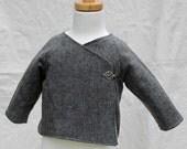 Gray Flannel Wool Kimono Jacket 3-12 mos.