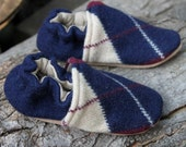 Argyle Wool Kids Slippers Leather Bottom size 2-3 years old made from recycled materials