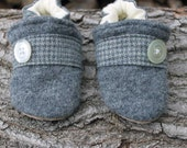 Gray Wool Baby Slippers Size 0-6 months old Leather Bottom made from recycled materials