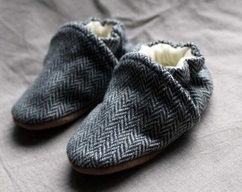 Herringbone Wool Baby Slippers Leather Bottom made from recycled materials