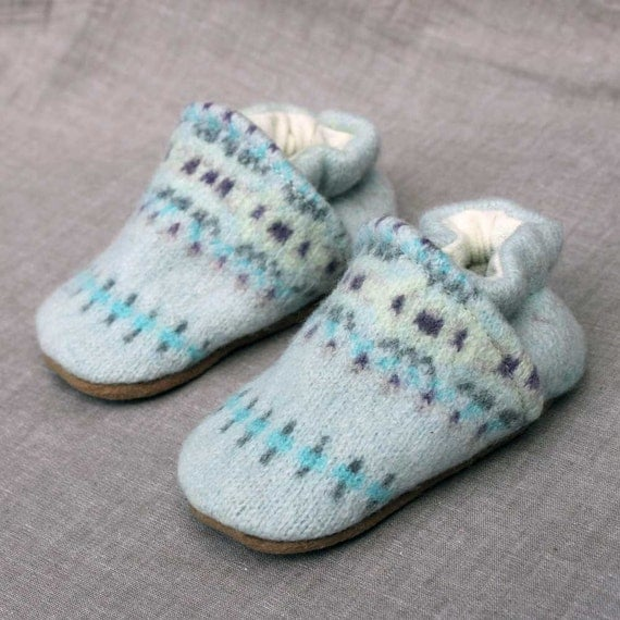 Blueberry Wool Baby Slippers Leather Bottom fits 0-6 months old made from recycled materials